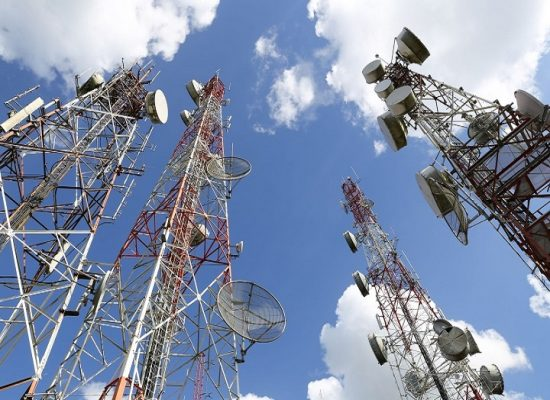 Telecommunication-tower-with-blue-sky-and-cloud